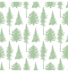 Trees silhouette seamless patten ecology vector image vector image