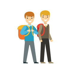 two boys walking to school together part of vector image vector image