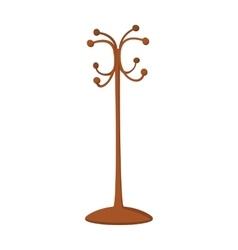 Wooden coat rack cartoon icon vector image