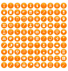 100 diagnostic icons set orange vector image