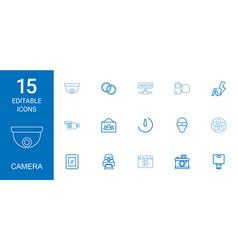 15 camera icons vector