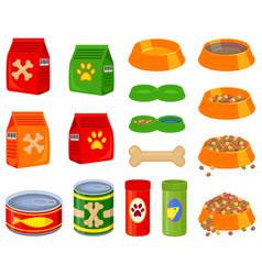 16 colorful cartoon pet food elements set vector image