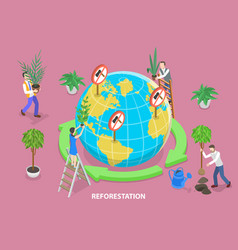 3d isometric flat concept reforestation vector image