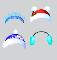 A set of hat and headbands in the style of vector