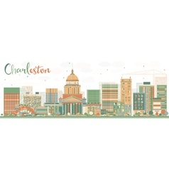 Abstract Charleston Skyline with Color Buildings vector