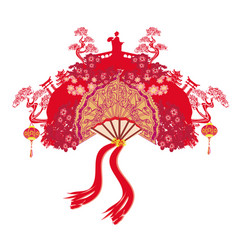 Abstract decorative fan with asian girl vector