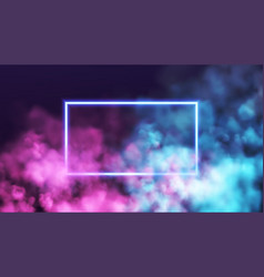 Abstract rectangle neon frame on pink and blue vector