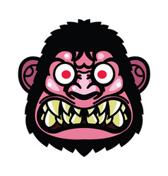 angry monkey head vector image