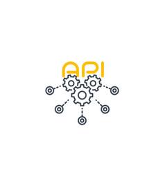 Api line icon with cogwheels vector