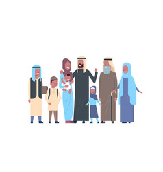 arab grandparents parents children grandchildren vector image