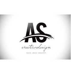 As a s letter logo design with swoosh and black vector