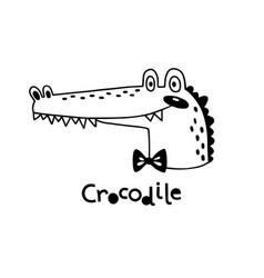 avatar cute face crocodile portrait vector image