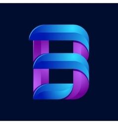 B letter volume blue and purple color logo design vector image
