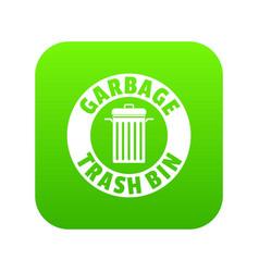 Bin dump icon green vector