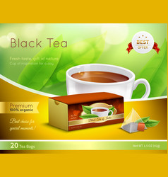 black tea advertising realistic composition vector image