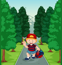 Boy walking down path with trees vector