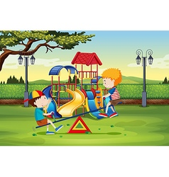 Boys playing on seesaw in the park vector