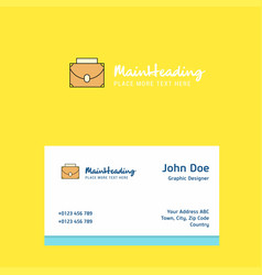 briefcase logo design with business card template vector image