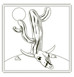 Cactus with skull on desert vector