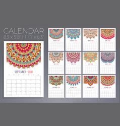 Calendar 2018 vintage decorative elements vector