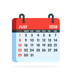 Calendar for 2018 year full month july icon vector