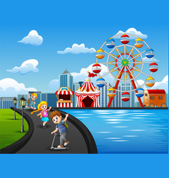 cartoon of happy kids playing outdoors with amusem vector image