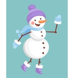 Cartoon snowman character vector image