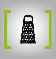 cheese grater sign black scribble icon in vector image