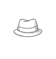 Classic hat hand drawn sketch icon vector