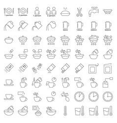 Cooking instruction icon material for use in vector