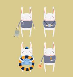 Cute bunny on summer holidays vector