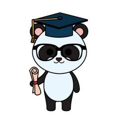 Cute little bear panda character vector