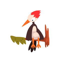 Cute woodpecker sitting on a tree branch funny vector
