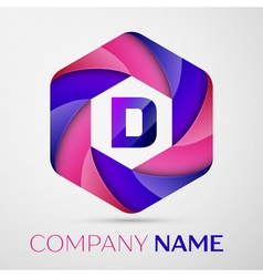 D Letter colorful logo in the hexagonal on grey vector