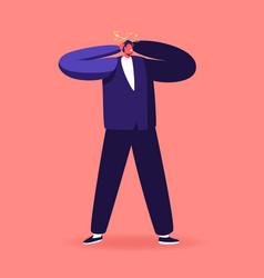 dizzy adult man suffering headache or migraine vector image