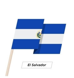 El Salvador Ribbon Waving Flag Isolated on White vector