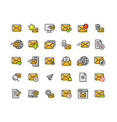 email and mail filled outline icon set vector image