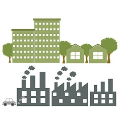 Factories in gray and green colours vector
