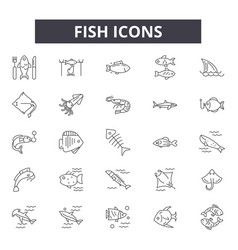 fish line icons signs set outline vector image