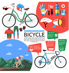 Flat colorful bicycle poster vector