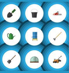 flat icon garden set of tool lawn mower shovel vector image
