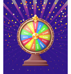fortune wheel with sums money bonuses vector image