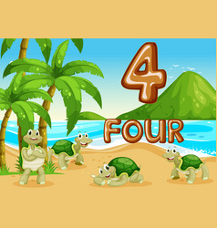 Four turtle at the beach vector