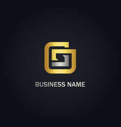 g shape line square gold logo vector image