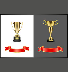 Gilded contest or competition awards and ribbons vector
