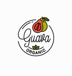 Guava fruit logo round linear guava slice vector