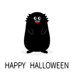 Happy halloween monster black silhouette fang vector