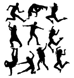 hip hop dancer silhouettes vector image