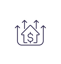 house prices growing line icon vector image
