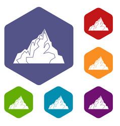 iceberg icons set hexagon vector image